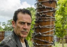 "This image released by AMC shows Jeffrey Dean Morgan as Negan from the series, ""The Walking Dead."" The popular zombie series makes its midseason return Sunday on AMC. (Gene Page/AMC via AP)"