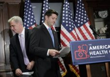 Majority Leader Kevin McCarthy of Calif., left, and House Speaker Paul Ryan of Wis., prepare to face reporters at Republican National Committee Headquarters on Capitol Hill in Washington, Wednesday, March 8, 2017, as the GOP works on its long-awaited plan to repeal and replace the Affordable Care Act. (AP Photo/J. Scott Applewhite)
