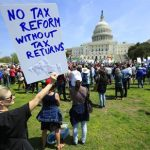 Tax Day Demonstrators In U.S. Take On Trump, His Supporters