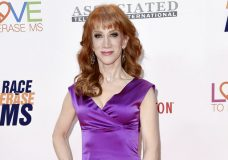 """FILE - In this May 5, 2017 file photo, Kathy Griffin attends the 24th Annual Race to Erase MS Gala in Beverly Hills, Calif. Griffin's video holding what was meant to look like President Donald Trump's severed head, has resulted in a lost endorsement deal and at least one club engagement for the comedian. Griffin has apologized, conceding that the brief video, which she originally described as an """"artsy fartsy statement"""" mocking the commander in chief, was """"too disturbing"""" and wasn't funny.  (Photo by Richard Shotwell/Invision/AP, File)"""