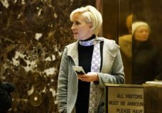 """In this Nov. 29, 2016 file photo Mika Brzezinski waits for an elevator in the lobby at Trump Tower, Tuesday, Nov. 29, 2016, in New York.  President Donald Trump has used a series of tweets to go after Mika Brzezinski and Joe Scarborough, who've criticized Trump on their MSNBC show """"Morning Joe."""" (AP Photo/Evan Vucci)"""
