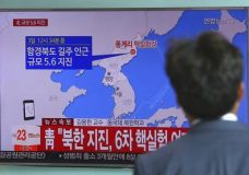 "A man watches a TV news report about a possible nuclear test conducted by North Korea at the Seoul Railway station in Seoul, South Korea, Sunday, Sept. 3, 2017. South Korean officials say they have detected an artificial 5.6 magnitude quake in North Korea and are analyzing whether Pyongyang has conducted its sixth nuclear test. The signs read "" The presidential Blue House analyzing whether North Korea has conducted its sixth nuclear test"". (AP Photo/Ahn Young-joon)"