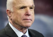 FILE -- In this July 27, 2017, file photo, Sen. John McCain, R-Ariz., speaks to reporters on Capitol Hill in Washington. McCain says he won't vote for the Republican bill repealing the Obama health care law. His statement likely deals a fatal blow to the last-gasp GOP measure in a Senate showdown expected next week. (AP Photo/Cliff Owen, file)