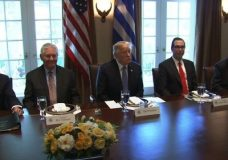 President Donald Trump met with Greek Prime Minister Alexis Tsipras in the White House Cabinet room to address a range of economic and security issues — and perhaps make amends. (Oct. 17)
