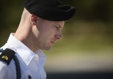 FILE- In this Sept. 27, 2017, file photo, Army Sgt. Bowe Bergdahl leaves a motions hearing during a lunch break in Fort Bragg, N.C. The fate of Bergdahl rests in a judge's hands now that the Army sergeant has pleaded guilty to endangering his comrades by leaving his post in Afghanistan in 2009. Sentencing for Bergdahl starts Monday, Oct. 23, at Fort Bragg and is expected to feature dramatic testimony about soldiers and a Navy SEAL badly hurt while they searched for the missing Bergdahl. (Andrew Craft/The Fayetteville Observer via AP, File)