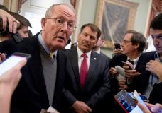 """Sen. Lamar Alexander, R-Tenn., left, accompanied by Sen. Mike Rounds, R-S.D., right, speaks to reporters on Capitol Hill in Washington, Tuesday, Oct. 17, 2017, after he and Sen. Patty Murray, D-Wash., say they have the """"basic outlines"""" of a bipartisan deal to resume payments to health insurers that President Donald Trump has blocked. (AP Photo/Andrew Harnik)"""