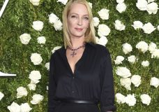 "FILE - In this June 11, 2017 file photo, Uma Thurman arrives at the 71st annual Tony Awards in New York. Thurman wished everyone a happy Thanksgiving except disgraced movie mogul Harvey Weinstein, saying in a cryptic online post that he doesn't ""deserve a bullet."" Thurman starred in the Weinstein-produced films ""Pulp Fiction"" and the ""Kill Bill"" films. (Photo by Evan Agostini/Invision/AP, File)"