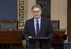 In this image from video from Senate Television, Sen. Al Franken, D-Minn., speaks on the Senate floor of the Capitol in Washington, Thursday morning, Dec. 7, 2017. Franken said he will resign from the Senate in coming weeks following a wave of sexual misconduct allegations and a collapse of support from his Democratic colleagues, a swift political fall for a once-rising Democratic star. (Senate TV via AP)