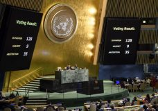 "The results of a vote are posted in the General Assembly, Thursday, Dec. 21, 2017, at United Nations headquarters. The U.N. General Assembly voted 128-9 with 35 abstentions on Thursday in favor of a nonbinding resolution declaring President Donald Trump's recognition of Jerusalem as Israel's capital ""null and void,"" a smaller margin than the Palestinians hoped for but also a rebuke to the U.S. which is threatening to cut funding for those who voted ""yes."" (Manuel Elias/United Nations via AP)"
