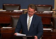 Republican Sen. Jeff Flake of Arizona strongly denounced President Donald Trump's attacks on the free press, saying they are reminiscent of words infamously used by Russian dictator Josef Stalin to describe his enemies. (Jan. 17)