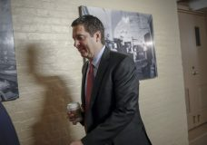 House Intelligence Committee Chairman Devin Nunes, R-Calif., a close ally of President Donald Trump who has become a fierce critic of the FBI and the Justice Department, strides to a GOP conference at the Capitol in Washington, Tuesday, Jan. 30, 2018. House Speaker Paul Ryan is defending a vote by Republicans on the House intelligence committee to release a classified memo on the Russia investigation. (AP Photo/J. Scott Applewhite)
