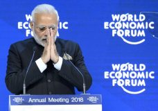 Indian Prime Minister Narendra Modi speaks during a plenary session in the Congress Hall the opening day of the 48th Annual Meeting of the World Economic Forum, WEF, in Davos, Switzerland, Tuesday, Jan. 23, 2018. (Laurent Gillieron/Keystone via AP)