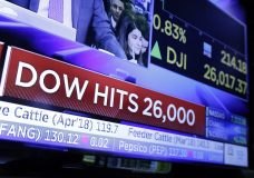 A television screen on the floor of the New York Stock Exchange headlines the Dow Jones industrial average above 26,000, Tuesday, Jan. 16, 2018. The DJIA traded above 26,000 for the first time. (AP Photo/Richard Drew)