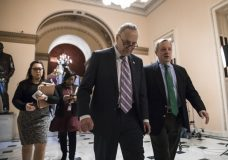 Senate Minority Leader Chuck Schumer, D-N.Y., left, walks with Sen. Dick Durbin, D-Ill., the minority whip, as lawmakers continue negotiating on a deal that would include a fix for the Deferred Action for Childhood Arrivals (DACA) program, at the Capitol in Washington, Thursday, Jan. 11, 2018. (AP Photo/J. Scott Applewhite)