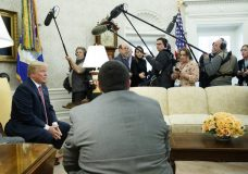 President Donald Trump speaks to reporters in the Oval Office of the White House, Friday, Feb. 9, 2018, in Washington. (AP Photo/Evan Vucci)