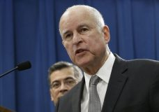 California Gov. Jerry Brown, right, accompanied by California Attorney General Xavier Becerra, responds to remarks made U.S. Attorney General Jeff Sessions, Wednesday, March 7, 2018, in Sacramento, Calif. (AP Photo/Rich Pedroncelli)