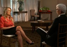 """This image released by CBS News shows Stormy Daniels, left, during an interview with Anderson Cooper which aired on Sunday, March 25, 2018, on """"60 Minutes."""" (CBS News/60 Minutes via AP)"""