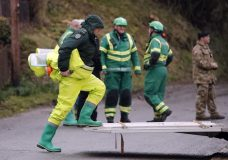 Military and ambulance forces work in Winterslow, England, Monday, March 12, 2018. Investigations continue into the nerve-agent poisoning of ex-spy Sergei Skripal and his daughter Yulia, in Salisbury, England, on Sunday March 4,2018.(AP Photo/Frank Augstein)