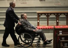 Former Presidents George W. Bush, left, and George H.W. Bush arrive at St. Martin's Episcopal Church for a funeral service for former first lady Barbara Bush, Saturday, April 21, 2018, in Houston. (AP Photo/David J. Phillip )