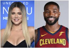 This combination photo shows television personality Khloe Kardashian at the NBCUniversal Network 2017 Upfront at Radio City Music Hall in New York on May 15, 2017, left, and Cleveland Cavaliers' Tristan Thompson at the NBA basketball team media day in Independence, Ohio, on Sept. 25, 2017. Various outlets have reported that the 33-year-old reality star has given birth to a baby girl, but her reps have not commented. Kardashian was expecting the baby with Thompson. The birth comes amid a torrent of tabloid speculation about the couple after surveillance video showed the basketball star with other women. There has been no comment from either Kardashian or Thompson on the matter. (AP Photo)