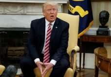 FILE- In this May 10, 2017 file photo, President Donald Trump talks to reporters during a meeting with Dr. Henry Kissinger, former Secretary of State and National Security Advisor under President Richard Nixon, in the Oval Office of the White House in Washington. The presidential news conference, a time-honored tradition going back generations, appears to be no longer. Instead, the president engages the press in more informal settings that aides say offer reporters far more access, more often, than past administrations. (AP Photo/Evan Vucci, File)