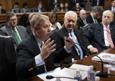From left, Sen. Lindsey Graham, R-S.C., Sen. Orrin Hatch, R-Utah, and Senate Judiciary Committee Chairman Chuck Grassley, R-Iowa, continue discussions after the panel 14 to 7, to protect Special Counsel Robert Mueller and to send the Special Counsel Independence and Integrity Act to the full Senate, on Capitol Hill in Washington, Thursday, April 26, 2018. Senate Majority Leader Mitch McConnell has insisted he will not hold a full Senate vote on the legislation which would seek expedited judicial review of a firing. (AP Photo/J. Scott Applewhite)