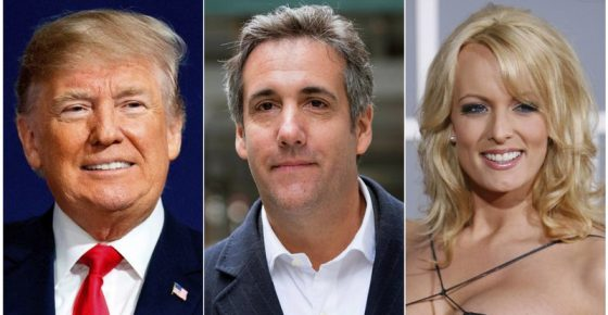 This combination photo shows, from left, President Donald Trump, attorney Michael Cohen and adult film actress Stormy Daniels. Cohen has been ordered to appear in federal court in New York, Monday, April 16, 2018, for arguments over last week's raid of his home and office. The raid sought information on a $130,000 payment made to porn actress Stormy Daniels, who alleges she had sex with a married Trump in 2006. (AP Photo)