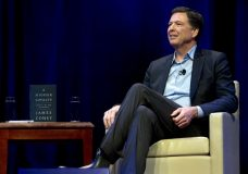Former FBI director James Comey speaks to George Washington University students during a stop on his book tour Monday, April 30, 2018, in Washington. ( AP Photo/Jose Luis Magana)