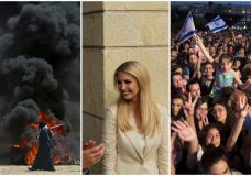 COMBO - This combination of three images taken on Monday, May 14, 2018 shows, from left, a Palestinian protester on the Israel-Gaza border, Ivanka Trump at the opening of the U.S. Embassy in Jerusalem, and Israelis at a celebration of the Israeli winner of the Eurovision song contest. Seventy years after Israel's founding, images of victory and violence on Monday showcased the contradictions that bedevil the Jewish state. (AP Photo)