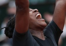 Serena Williams of the U.S. celebrates winning her second round match of the French Open tennis tournament against Australia's Ashleigh Barty in three sets, 3-6, 6-3, 6-4, at the Roland Garros stadium in Paris, France, Thursday, May 31, 2018. (AP Photo/Thibault Camus)