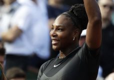 Serena Williams of the U.S. celebrates winning her first round match of the French Open tennis tournament against Krystina Pliskova of the Czech Republic at the Roland Garros stadium in Paris, France, Tuesday, May 29, 2018. (AP Photo/Alessandra Tarantino)