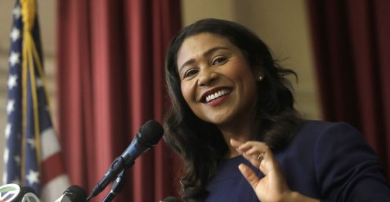 Incoming mayor London Breed smiles while speaking at Rosa Parks Elementary School in San Francisco, Thursday, June 14, 2018. It is now the job of Breed, the first black woman elected mayor of the city, to unite a wealthy but frustrated San Francisco, where the high-tech economy has sent the median price of a home soaring to $1.3 million and where homeless tents and human waste fester on sidewalks. (AP Photo/Jeff Chiu)