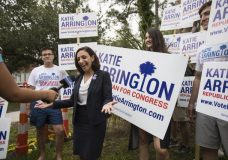 FILE - In this June 12, 2018 file photo, South Carolina Rep.Katie Arrington, who is running for the first district of South Carolina, campaigns after voting for herself in the primary election at Bethany United Methodist Church in Summerville. Arrington who defeated U.S. Rep. Mark Sanford in his re-election bid has been seriously injured in a deadly wreck. Spokesman Michael Mule tells media outlets Arrington has undergone surgery for her injuries and was recovering Saturday, June 23, 2018, in a Charleston-area hospital. (Kathryn Ziesig/The Post And Courier via AP, File)