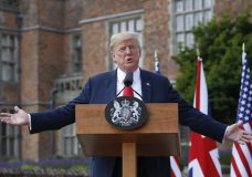 President Donald Trump gestures while speaking during a joint news conference with British Prime Minister Theresa May at Chequers, in Buckinghamshire, England, Friday, July 13, 2018. (AP Photo/Pablo Martinez Monsivais)