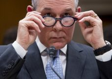 FILE - In this May 16, 2018 file photo, Environmental Protection Agency Administrator Scott Pruitt appears before a Senate Appropriations subcommittee on budget on Capitol Hill in Washington. A federal appeals court has ruled that the Trump administration endangered public health by keeping a top-selling pesticide chlorpyrifos on the market, despite extensive scientific evidence that even tiny levels of exposure could harm babies' brains. The 9th U.S. Circuit Court of Appeals in San Francisco has ordered the Environmental Protection Agency to remove chlorpyrifos from sale in the United States within 60 days. (AP Photo/Andrew Harnik)