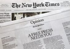 """An editorial titled """"A Free Press Needs You"""" is published in The New York Times, Thursday, Aug. 16, 2018, in New York. Newspapers from Maine to Hawaii pushed back against President Donald Trump's attacks on """"fake news"""" Thursday with a coordinated series of editorials speaking up for a free and vigorous press. The Boston Globe, which set the campaign in motion by urging the unified voice, had estimated that some 350 newspapers would participate. (AP Photo/Mark Lennihan)"""