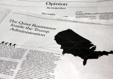 """This photo shows an anonymous opinion piece in The New York Times in New York, Thursday, Sept. 6, 2018. President Donald Trump lashed out against the anonymous senior official who wrote it, claiming to be part of a """"resistance"""" working """"from within"""" to thwart the commander-in-chief's most dangerous impulses. (AP Photo/Richard Drew)"""