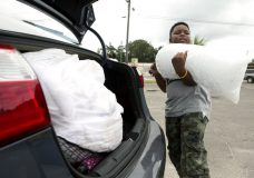 Xavier McKenzie puts a twenty pound bag of ice into his family's car in Panama City, Fla., as Hurricane Michael approaches on Tuesday, Oct.9, 2018. He and his family do not live in a storm surge area, and instead prepared for losing power for days. (Joshua Boucher/News Herald via AP)