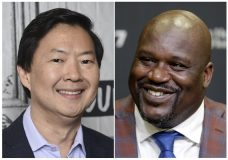 "This combination photo shows actor Ken Jeong at the BUILD Speaker Series to discuss the film ""Crazy Rich Asians"" in New York on Aug. 14, 2018, left, and retired Hall of Fame basketball player Shaquille O'Neal during an NBA basketball news conference in Miami on Dec. 22, 2016. TBS said it has ordered a reality series pilot that will test the pair's ability to take on odd jobs. The pilot, with the working title ""Unqualified,"" could be the basis for a series if it impresses the channel. (AP Photo)"