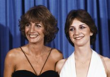 """FILE - In this Sept. 9, 1979 file photo, Penny Marshal, left,l and Cindy Williams from the comedy series """"Laverne & Shirley"""" appear at the Emmy Awards in Los Angeles. Marshall died of complications from diabetes on Monday, Dec. 17, 2018, at her Hollywood Hills home. She was 75. (AP Photo/George Brich, FIle)"""