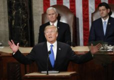 FILE - In this Jan. 30, 2018 file photo, President Donald Trump delivers his State of the Union address to a joint session of Congress on Capitol Hill in Washington. (AP Photo/Pablo Martinez Monsivais)