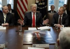 President Donald Trump speaks during a cabinet meeting at the White House, Wednesday, Jan. 2, 2019, in Washington. David Bernhardt, Acting Secretary of Interior is left and Patrick Shanahan, Acting Secretary of Defense is right. (AP Photo/Evan Vucci)