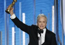 "This image released by NBC shows Michael Douglas, winner of best actor in a TV series, musical or comedy for his role in ""The Kominsky Method"" at the 76th Annual Golden Globe Awards at the Beverly Hilton Hotel, Sunday, Jan. 6, 2019 in Beverly Hills, Calif. (Paul Drinkwater/NBC via AP)"