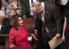 House Democratic Leader Nancy Pelosi of California, left, talks with Senate Minority Leader Chuck Schumer, D-N.Y., as the House of Representatives assembles for the first day of the 116th Congress, at the Capitol in Washington, Thursday, Jan. 3, 2019. (AP Photo/J. Scott Applewhite)