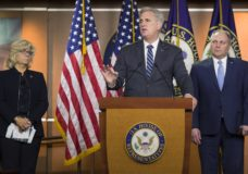 House Minority Leader Kevin McCarthy of Calif., center, speaks accompanied by House Republican Conference chair Rep. Liz Cheney, R-Wyo., left, and House Minority Whip Steve Scalise of La., during a news conference on Capitol Hill, Tuesday, Jan. 15, 2019 in Washington. (AP Photo/Alex Brandon)