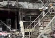 This frame grab from video provided by Hawar News, ANHA, the news agency for the semi-autonomous Kurdish areas in Syria, shows a damaged restaurant where an explosion occurred, in Manbij, Syria, Wednesday, Jan. 16, 2019. The Britain-based Syrian Observatory for Human Rights, a Syrian war monitoring group, and a local town council said Wednesday that the explosion took place near a patrol of the U.S.-led coalition and that there are casualties. (ANHA via AP)