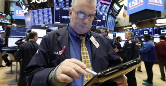 nullFILE- In this Jan. 11, 2019, file photo, trader Frank O'Connell on the floor of the New York Stock Exchange. The U.S. stock market opens at 9:30 a.m. EST on Friday, Jan. 18. (AP Photo/Richard Drew, File)