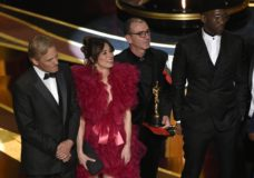 """Viggo Mortensen, from left, Linda Cardellini, Dimiter Marinov and Mahershala Ali accept the award for best picture for """"Green Book"""" at the Oscars on Sunday, Feb. 24, 2019, at the Dolby Theatre in Los Angeles. (Photo by Chris Pizzello/Invision/AP)"""