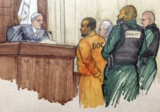In this courtroom sketch, R&B singer R. Kelly appears before Cook County Associate Judge Lawrence Flood with his attorney Steve Greenberg Monday, Feb. 25, 2019, at the Leighton Criminal Courthouse in Chicago. Kelly's attorney entered not guilty pleas on the singer's behalf after Kelly was charged with sexually abusing four victims dating back to 1998, including three underage teenagers. (Tom Gianni via AP