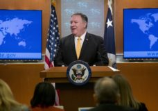 Secretary of State Mike Pompeo speaks at a news conference at the State Department in Washington, Friday, Feb. 1, 2019. Secretary of State Mike Pompeo has announced that the U.S. is pulling out of a treaty with Russia that's been a centerpiece of arms control since the Cold War. (AP Photo/Andrew Harnik)